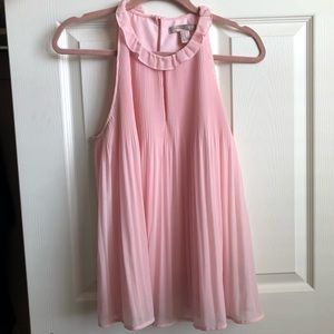 Flowy Pink Pleated Top with Keyhole Neckline